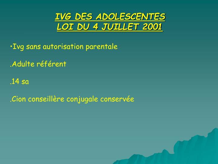IVG DES ADOLESCENTES