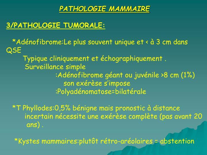 PATHOLOGIE MAMMAIRE