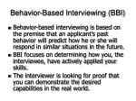 behavior based interviewing bbi