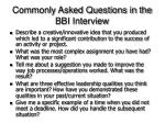 commonly asked questions in the bbi interview