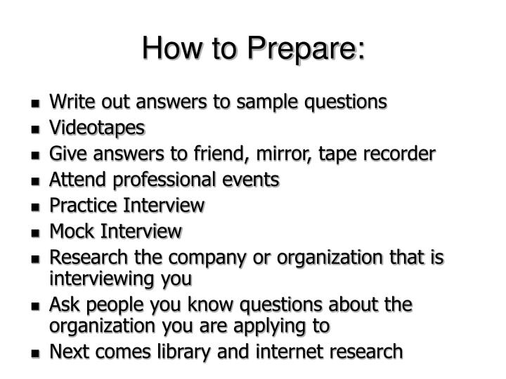 How to Prepare: