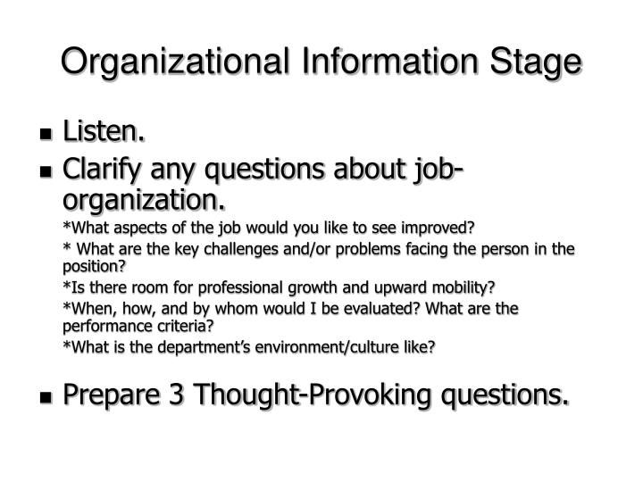 Organizational Information Stage