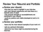 review your r sum and portfolio