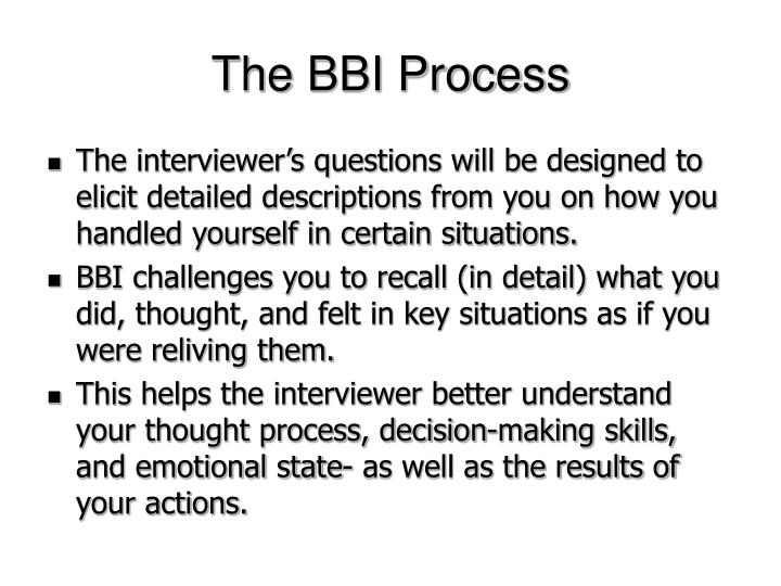 The BBI Process