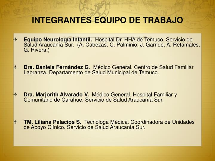 INTEGRANTES EQUIPO DE TRABAJO