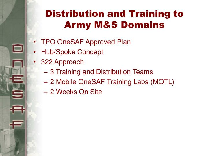 Distribution and Training to Army M&S Domains