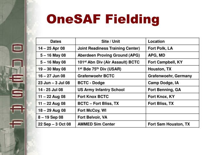 OneSAF Fielding