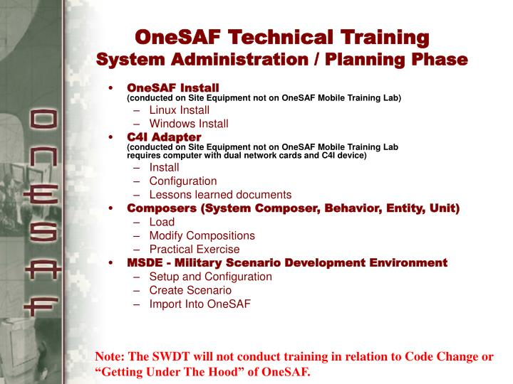 OneSAF Technical Training