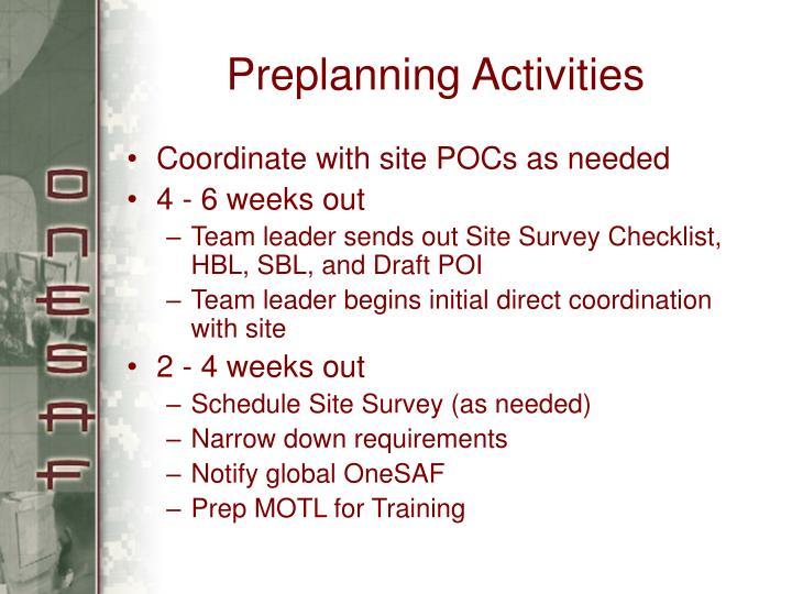 Preplanning Activities