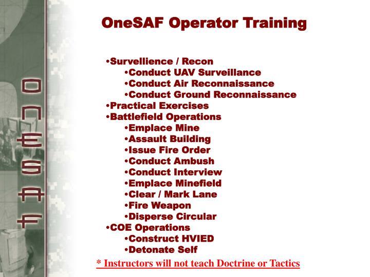 OneSAF Operator Training