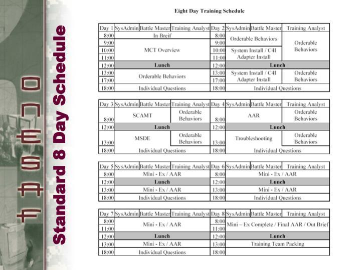 Standard 8 Day Schedule