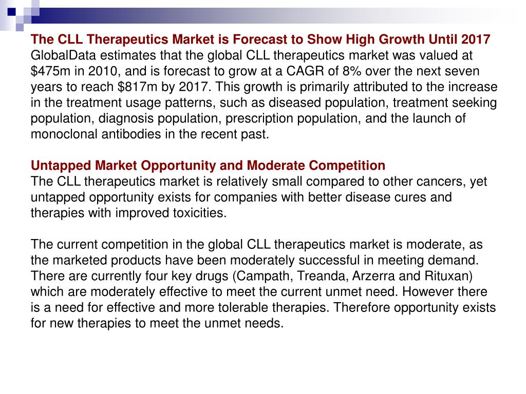The CLL Therapeutics Market is Forecast to Show High Growth Until 2017