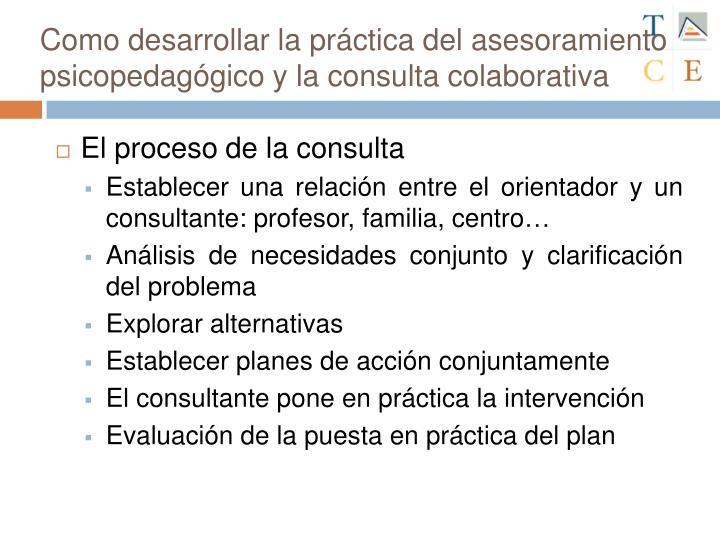 Como desarrollar la práctica del asesoramiento psicopedagógico y la consulta colaborativa