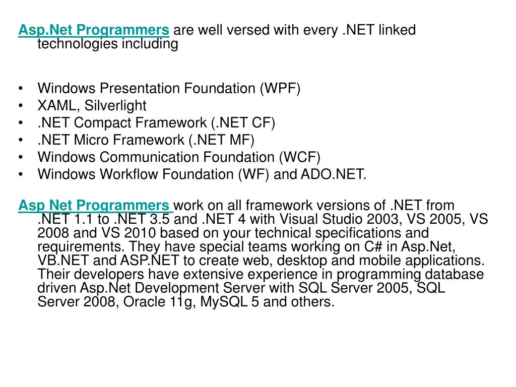 Asp.Net Programmers
