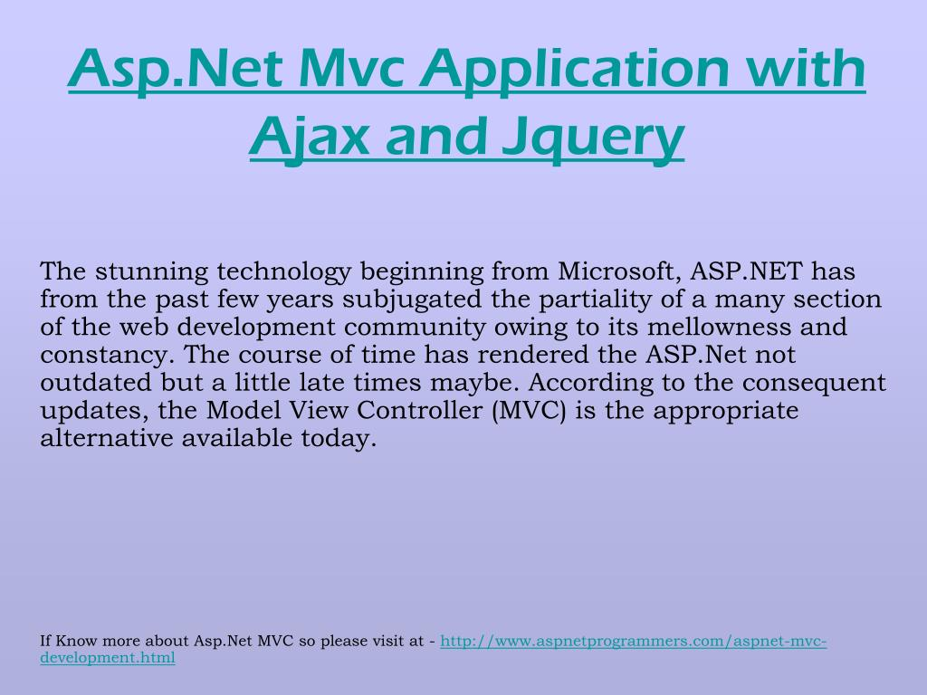 Asp.Net Mvc Application with Ajax and Jquery