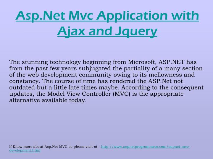 Asp net mvc application with ajax and jquery