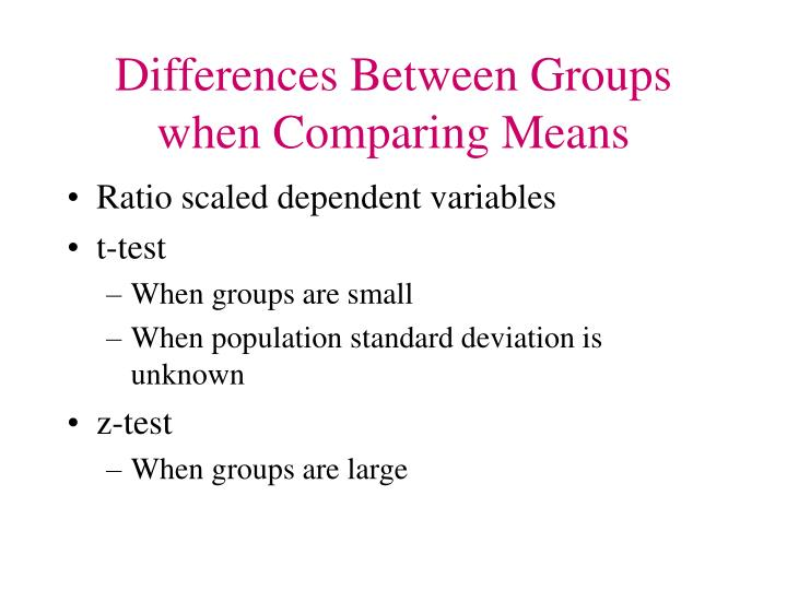 Differences Between Groups when Comparing Means