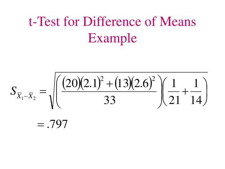 t-Test for Difference of Means Example