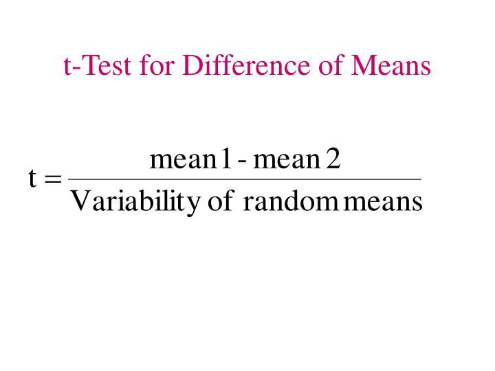 t-Test for Difference of Means
