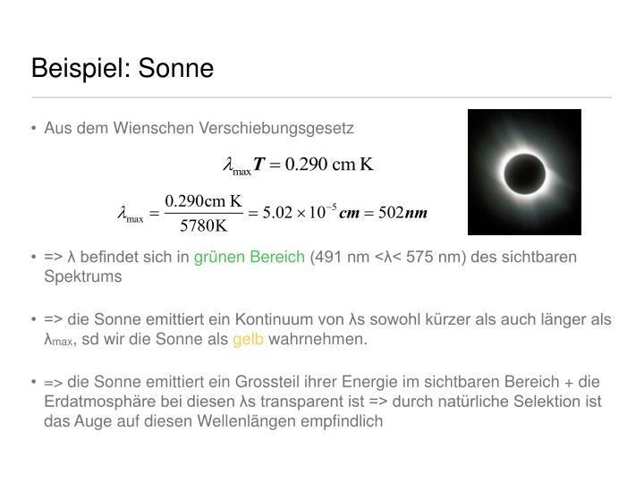 Beispiel: Sonne