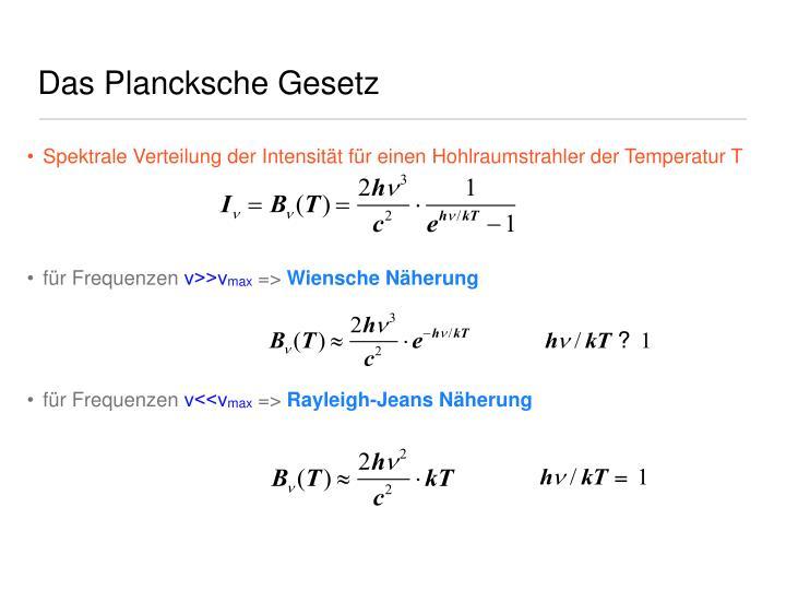 Das Plancksche Gesetz