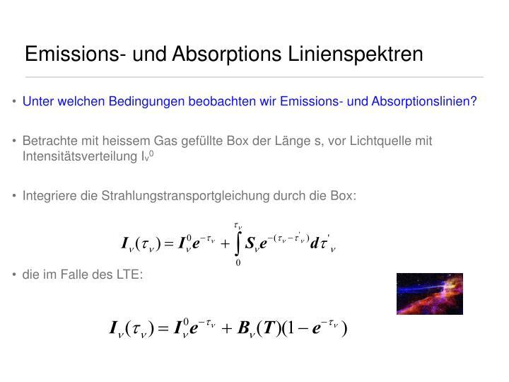 Emissions- und Absorptions Linienspektren