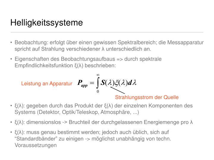 Helligkeitssysteme