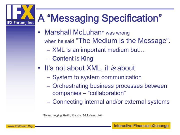 "A ""Messaging Specification"""