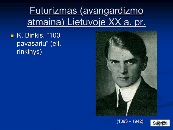 Futurizmas (avangardizmo atmaina) Lietuvoje XX a. pr.