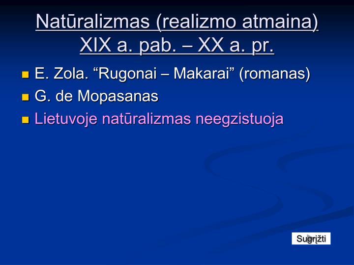 Natūralizmas (realizmo atmaina) XIX a.