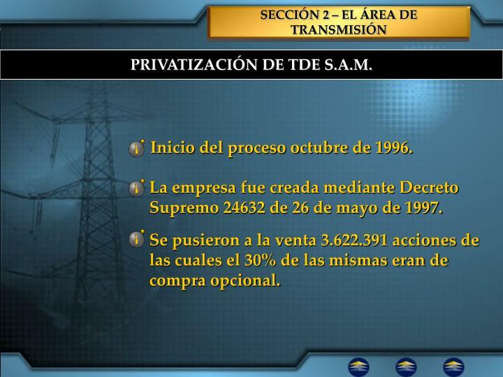Inicio del proceso octubre de 1996.