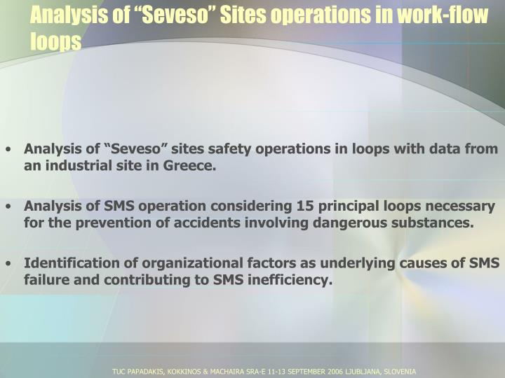 "Analysis of ""Seveso"" Sites operations in work-flow loops"