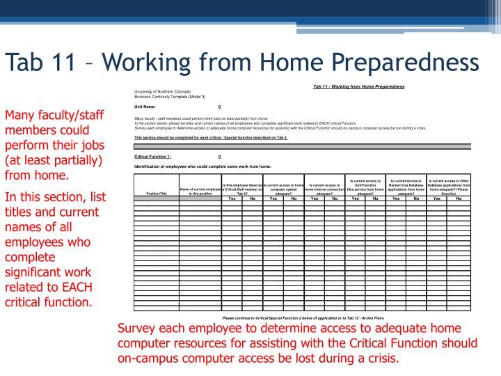 Tab 11 – Working from Home Preparedness