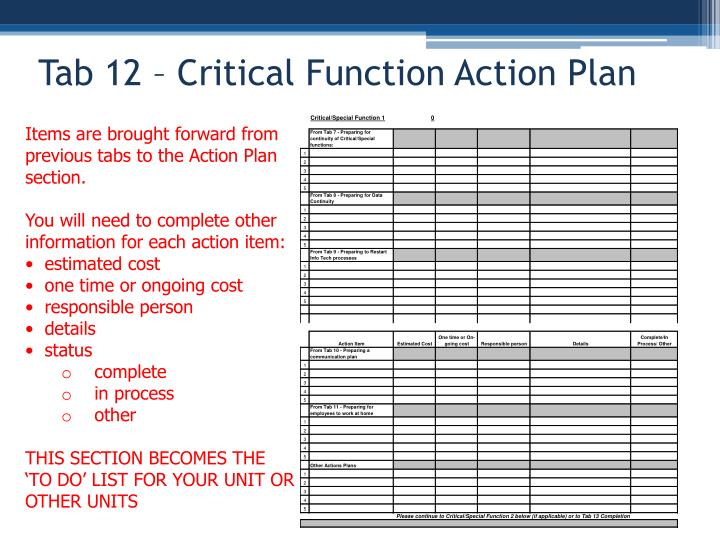 Tab 12 – Critical Function Action Plan