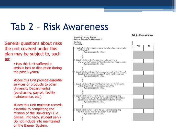 Tab 2 – Risk Awareness