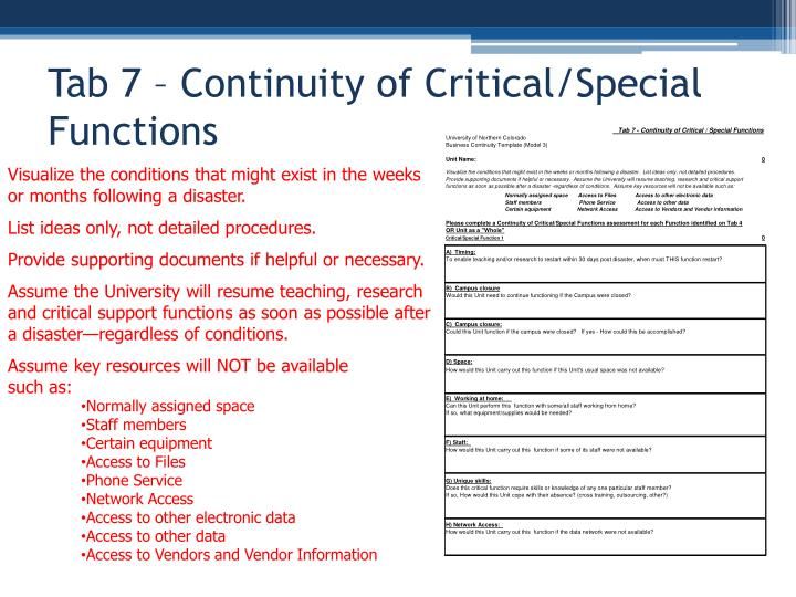 Tab 7 – Continuity of Critical/Special Functions