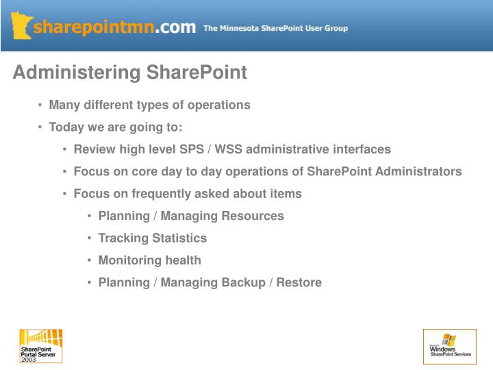 Administering SharePoint