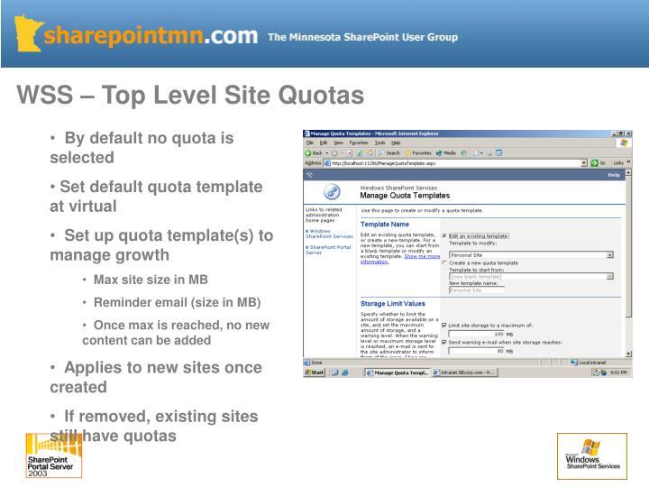WSS – Top Level Site Quotas