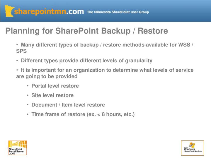 Planning for SharePoint Backup / Restore