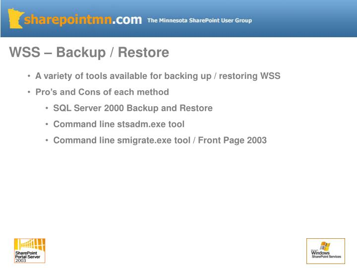 WSS – Backup / Restore