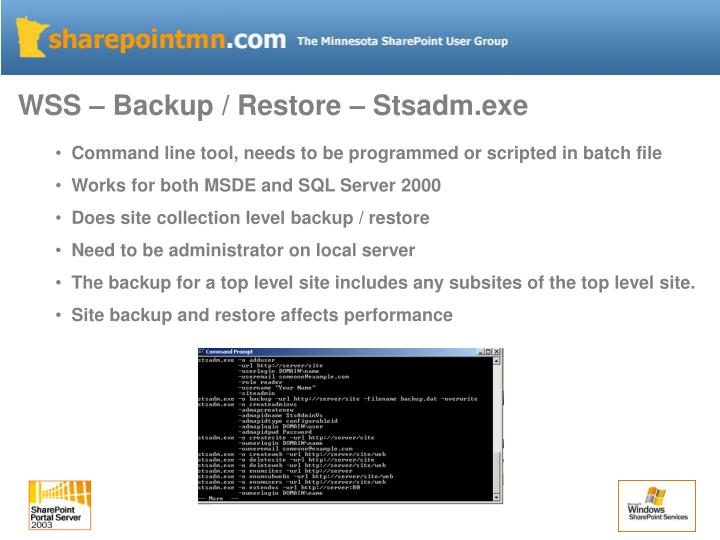 WSS – Backup / Restore – Stsadm.exe