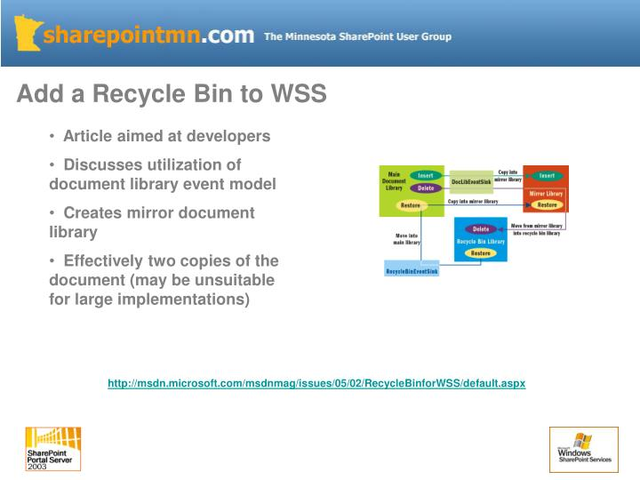 Add a Recycle Bin to WSS