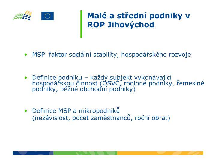 MSP  faktor sociální stability, hospodářského rozvoje