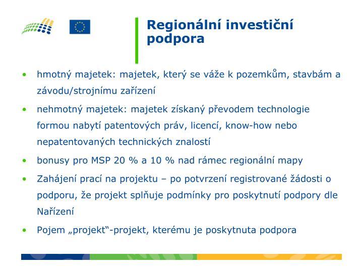 Regionální investiční podpora
