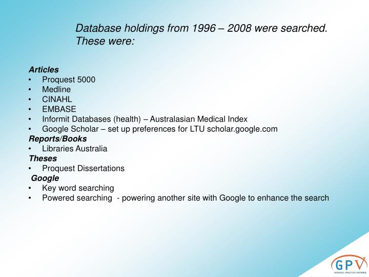 Database holdings from 1996 – 2008 were searched. These were: