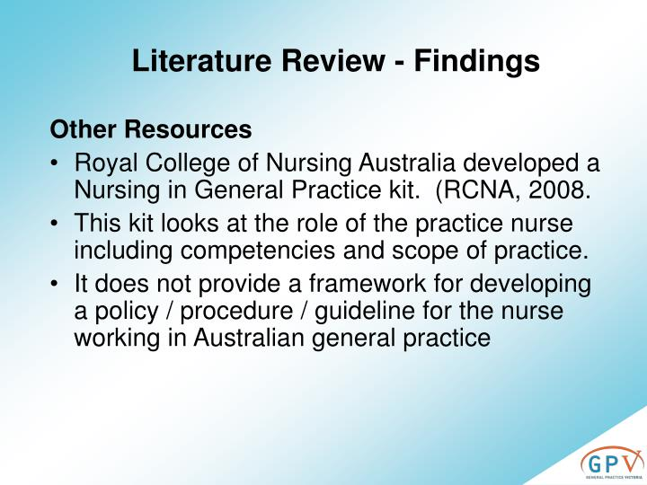 Literature Review - Findings