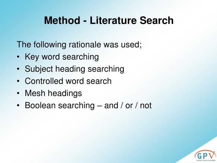 Method - Literature Search
