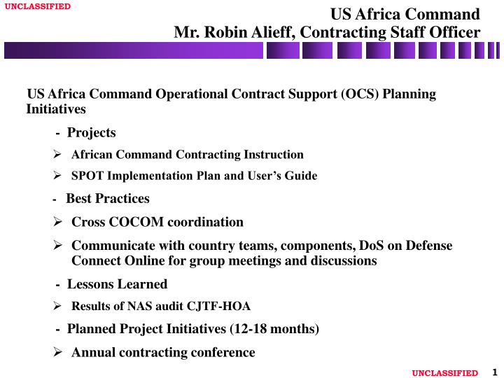 Us africa command mr robin alieff contracting staff officer