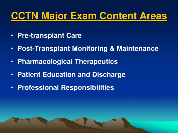 CCTN Major Exam Content Areas