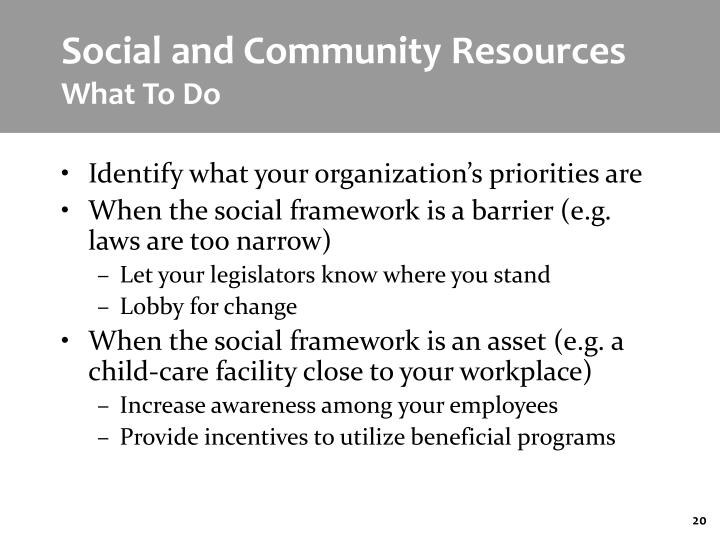 Social and Community Resources